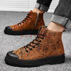 New Men Round Toe Lace Up Floral Ankle Boot Shoe Fashion High Top Military Chic