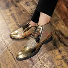 New Men Pointy Toe Lace Up Sequin Shiny Business Casual Shoe Ankle Boot Fashion
