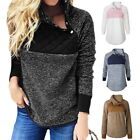 Fashion Womens Casual Oblique Collar Hoodies Casual Cotton-padded Pullover Tops