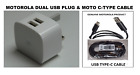 Genuine Motorola Dual USB Mains Charger Only & Micro USB or USB C-Type Cable