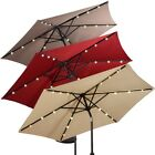 9 ft Home Garden Patio LED Solar Lights Lamps Umbrella with Crank 3 Colors US