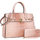 Dasein 2 in 1 Ostrich Embossed Satchel with Matching