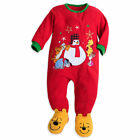 Disney Store Mickey Pluto Pooh Blanket Sleeper Christmas Holiday Fleece Red