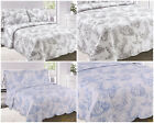Toille Vintage Floral Comforter Quilted Bedspread Grey / Blue / Double King