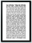 Super Trouper - ABBA  Song Lyrics Typography Print Poster Artwork, Home Art