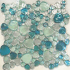 Blue Iridescent Random Pattern Glass Mosaic Tile Kitchen Backsplash Spa