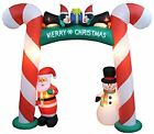 8 Foot Tall Lighted Christmas Inflatable Candy Cane Archway with Santa Claus