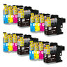 16 PK Ink Cartridge Set w/ v2 chip for Brother LC101 LC103 MFC-J245 MFC-J285DW