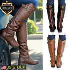 Women's Winter Leather Flat Knee High Boots Ladies Riding Biker Shoes Size USA
