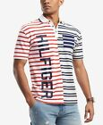 Tommy Hilfiger Jeans Men's Light Grey Paolo Striped Pieced Logo Polo Shirt