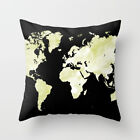 Throw Pillow Case Cushion Cover Made USA Design 73 black green World Map L.Dumas