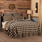 New Primitive Farmhouse BLACK CHECK COVERLET Quilt Bedding Pillows YOU CHOOSE image