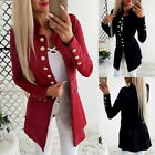 Retro Womens Long Sleeve Blazers Slim Fit Suits Jacket Casual Coats Outwear