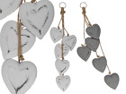 Wooden Decoration Hanger 5 Love Hearts - White or Grey - Home Christmas Gift