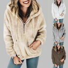 Womens Warm Long Sleeve Hooded Hoddies Casual Half-Zip Sweatshirts Outwear Tops