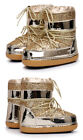 Women's Ankle Snow Boots Glitter Lace Up Fashion Kids Moon Boots Snowboard Shoes