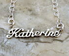 Sterling Silver Name Necklace -Katherine -on Heart Chain Your Choice Length-1006