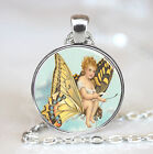 Vintage Baby Riding Butterfly Glass Dome Pendant (PD0586)