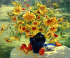Canvas Print Sunflower Still Life Oil painting Picture Printed on canvas P108