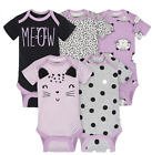 Внешний вид - Baby Girl Lot of 5 Onesie Cats Meow Purple NWT Gerber NB 0-3 3-6 6-9