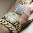 Men's Iced Out Hip Hop Gold CZ Watch & Full Iced Necklace & Bracelet Combo Set