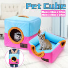 Dog Pet Cat Bed Portable Kennel Doggy House Cube Cave Nest Cushion Pad Basket