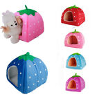Pink Blue Strawberry Pet Dog Bed House Kennel Cage Warm Cushion Basket S M L