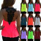 Women Backless Tank Tops Lace Crochet Off Shoulder Shirt Tops Blouse Cami Vest