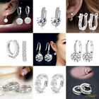 Charm Crystal Fashion Cz 925 Sterling Silver Stud Hoop Earrings Women Jewelry