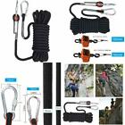 Rock Climbing Rope Static Safety Rescue Hiking Camping Outdoor Polyester Black