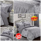 Luxury Silver Velvet Duvet / Quilt Cover Bedding  Set With Matching Pillow Cases