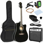 Bcp 41in Full Size Acoustic Electric Cutaway Guitar Set W  10 watt Amp  Case