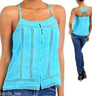 Turquoise Chiffon Strappy Lace Back & Insets Sleeveless Cami/Tami/Tank Top