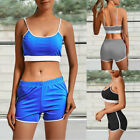 Womens Sportwear Sleeveless Full Tracksuits Yoga Fitness Crop Tops + Shorts Suit