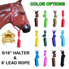 U-LTER NEW PROFESSIONAL 5/16 in. POLY ROPE HALTER HEADSTALL W/ 8 ft. LEAD - HORS