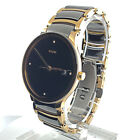 Lovely Yellow Gold Plated & Ceramic Rado Black Dial Diamond Markers 38mm Case