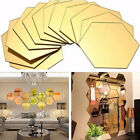 12pcs Wall Stickers 3d Mirror Hexagon Vinyl Removable Art Decal Home Decoration