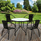 5pc Outdoor Garden Furniture Set Wicker Rattan Stacking Large Round Glass Table