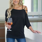 Womens Cold Shoulder Half Sleeve Loose T-Shirts Strap Solid Summer Blouse Tops