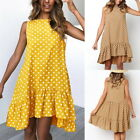 Summer Women Ruffled Sleeveless Dot Beach Dress Crew Neck Casual Loose Sundress