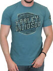 Harley-Davidson Mens Distressed Fury B&S Blue Green Short Sleeve Jersey T-Shirt image