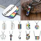 Punk Gay Lgbt Rainbow Friendship Ring Women Men Pendant Necklace Chain Jewelry