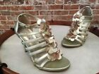 Kenneth Cole Gold Leather Flower T-Strap Know Show Heeled Sandals NEW