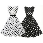 Womens 1950s Style Vintage Retro Rockabilly Polka Dot Party Swing Skater Dress