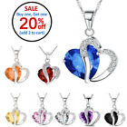 Fashion Women Heart Crystal Rhinestone Silver Chain Pendant Necklace Charm image