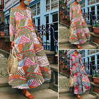 Oversize Women Long Sleeve Floral Stripe Shirt Dress Full Length Maxi Dress Plus
