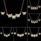 Fashion Stainless Steel Womens Hollow Pendant Necklace Earrings Jewelry Set Gift image