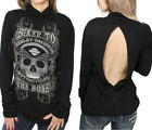 Harley-Davidson Womens Biker to the Bone Skull Mock Neck Open Back Black Top $29.99 USD on eBay