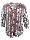 Style & Co. Women's Plus Size Mixed-Print Peasant Top