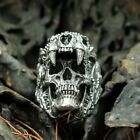 Cool Men's Stainless Steel Gothic Punk Skull Head Boy Biker Finger Ring Sz 7-14